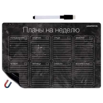 Планер магнитный LAIKAplanners на неделю Черный
