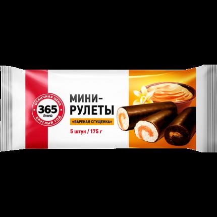Мини-рулеты 365 Дней бисквитные Вареная сгущенка 5 шт 175 г