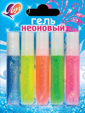 Гель с блёстками ЛУЧ Неоновый, 5 цветов по 5 мл