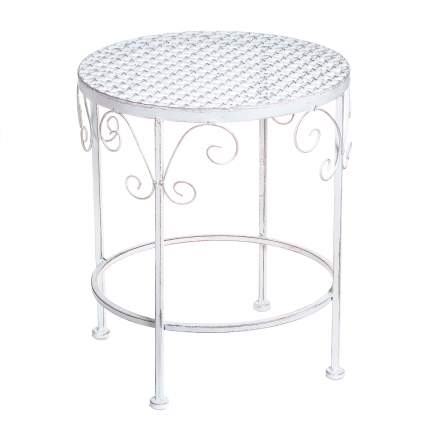 Комплект садовых столиков под кашпо АЖУРНЫЙ ПРОВАНС, металл, белый, 43х35см (Edelman)