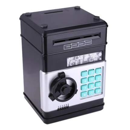 Копилка-сейф для денег с кодовым замком Number Bank, черная Baziator