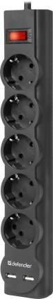 Сетевой фильтр Defender DFS 753, 5 розеток, 3 м, Black