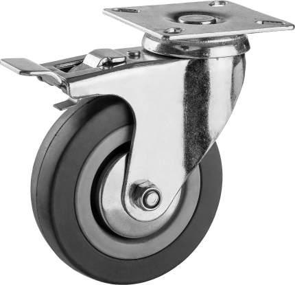 Колесо поворотное с тормозом d=100мм, г/п 65кг, резина/полипропилен, ЗУБР