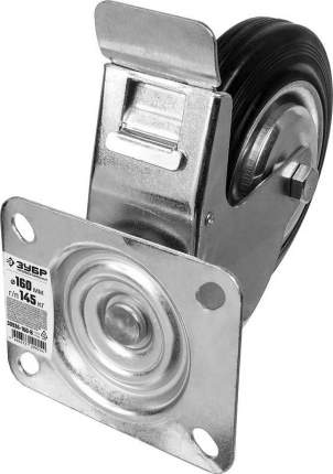 Колесо поворотное c тормозом d=160мм, г/п 145кг, резина/металл, игольчатый подшипник, ЗУБР