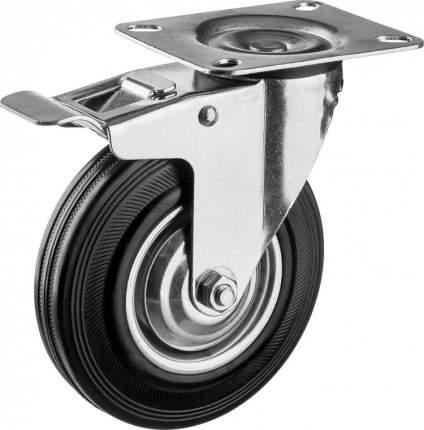 Колесо поворотное c тормозом d=100мм, г/п 70кг, резина/металл, игольчатый подшипник, ЗУБР
