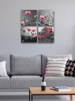 Комплект картин на холсте LOFTime 4 шт 30Х30 РОЗОВЫЕ ЦВЕТЫ К-51-3030