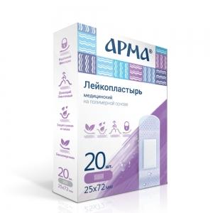 Лейкопластырь мед. АРМА 19х72мм полимерный прозрачный 20 шт.