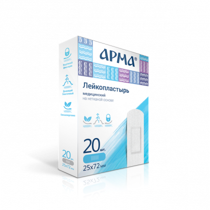 Лейкопластырь медицинский АРМА 25х72мм полимерный прозрачный 20 шт.