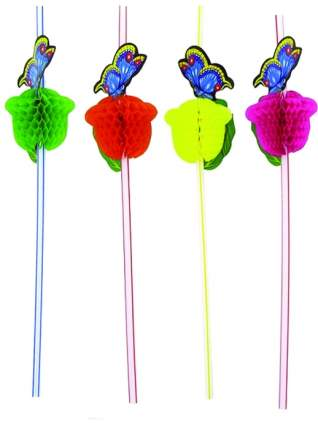 Трубочка для коктейля Бабочка 12шт 24 см Веселая Затея