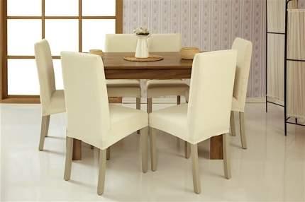 Чехлы на стулья без оборки Venera, слоновая кость, комплект 6 штук