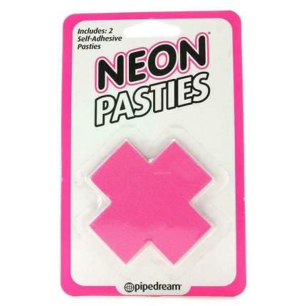 Розовые неоновые пэстисы для груди PipeDream