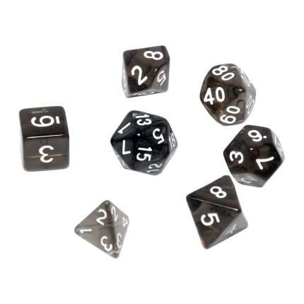 Набор кубиков STUFF PRO для ролевых игр. прозрачные черные