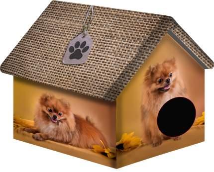 Домик для собак PerseiLine Дизайн Померанский шпиц, бежевый, коричневый, 40x33x33см