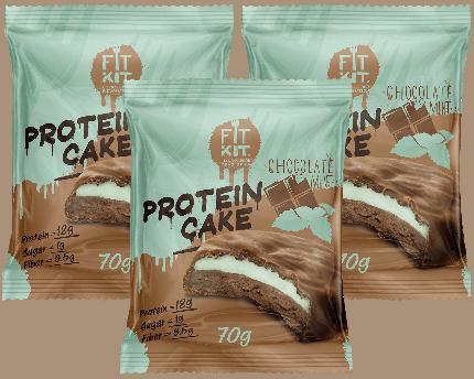 Печенье Fit Kit Protein Cake 3 70 г, 3 шт., шоколад/мята