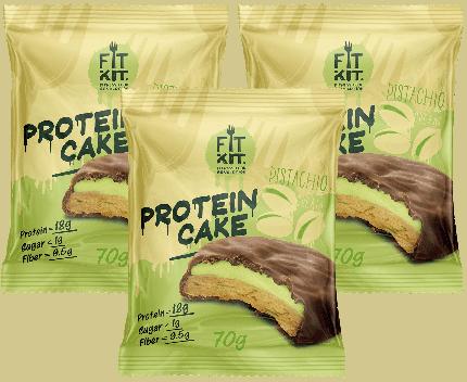 Печенье Fit Kit Protein Cake 3 70 г, 3 шт., фисташковый крем