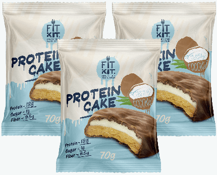 Печенье Fit Kit Protein Cake 3 70 г, 3 шт., тропический кокос