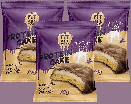 Печенье Fit Kit Protein Cake 3 70 г, 3 шт., ромовая баба