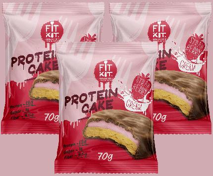 Печенье Fit Kit Protein Cake 3 70 г, 3 шт., клубника со сливками