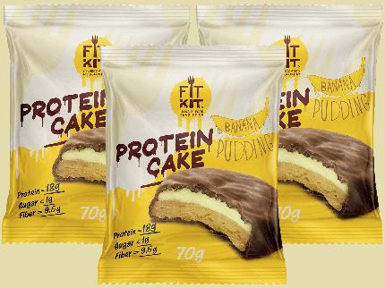 Печенье Fit Kit Protein Cake 3 70 г, 3 шт., банановый пудинг