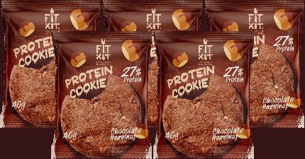 Печенье Fit Kit Protein Cookie 5 40 г, 5 шт., шоколад/фундук