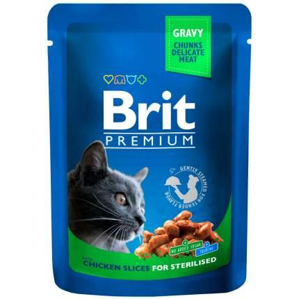 Влажный корм для кошек Brit Premium Chicken Slices for Sterilised, курица, 24шт по 100г