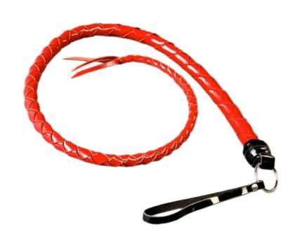Красная однохвостная лакированная плеть 60 см