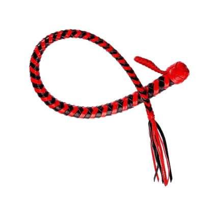 Плеть Змея из полосок кожи красного и черного цветов 60 см