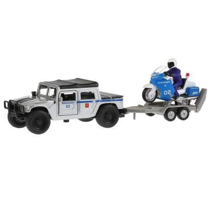 Технопарк Модель - Hummer H1 полиция 12 см, с мотоциклом на прицепе