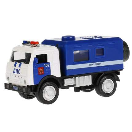 Машинка Технопарк Полиция Kamaz Будка 12 см, свет-звук открываются двери