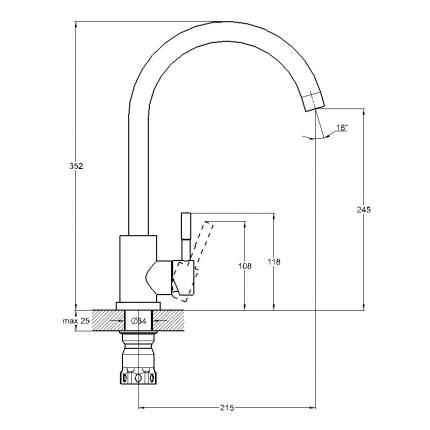Смеситель для кухонной мойки SOLONE EZA4-D090