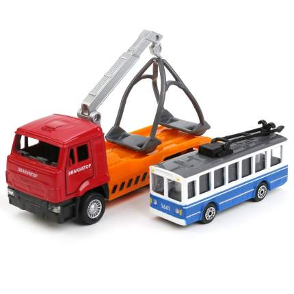 Набор машин Технопарк Эвакуатор КамАЗ 12 см и троллейбус 7,5 см