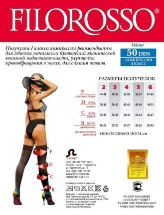 Чулки женские лечебно-профилактические Velour на резинке 50 den 1 класс черный р.3