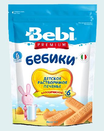 Детское растворимое печенье Bebi Premium Бебики классическое, с 6 месяцев, 115 г