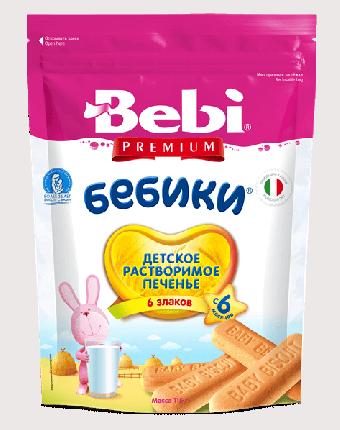 Детское растворимое печенье Bebi Premium Бебики 6 злаков, с 6 месяцев, 115 г