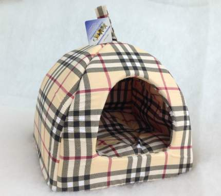 Домик для кошек и собак Бобровый Дворик Домик №1, бежевый, черный, розовый, 39x39x35см