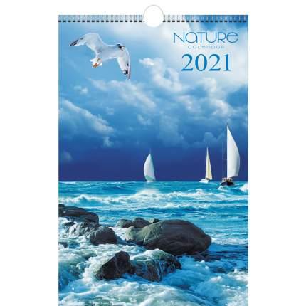 Календарь настенный на 2021 год Listoff Природа (евроспираль с ригелем)