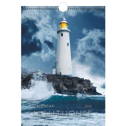 Календарь настенный на 2021 год Listoff Маяки (евроспираль с ригелем)