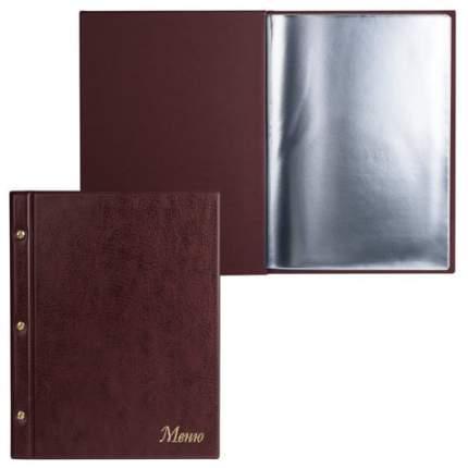 """Папка """"Меню"""" на трех винтах 10 файлов 220x320 мм коричневая"""