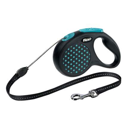 Поводок-рулетка для собак flexi Design трос, синий, S, до 12 кг, 5 м