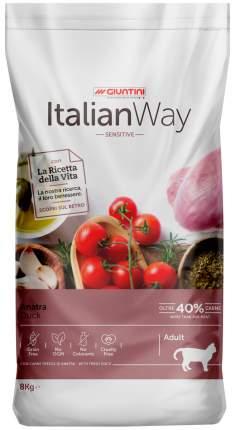 Сухой корм для кошек Italian Way Adult Sensitive, беззерновой, с уткой, 8кг