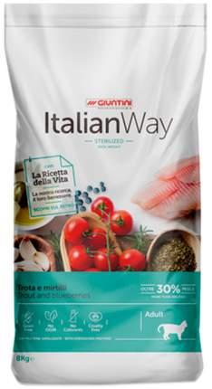 Сухой корм для кошек Italian Way Adult Sterilised Ideal Weight, с форелью и черникой, 8кг