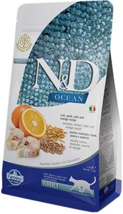 Сухой корм для кошек Farmina N&D Adult Ocean, с треской, спельтой, овсом и апельсином, 5кг