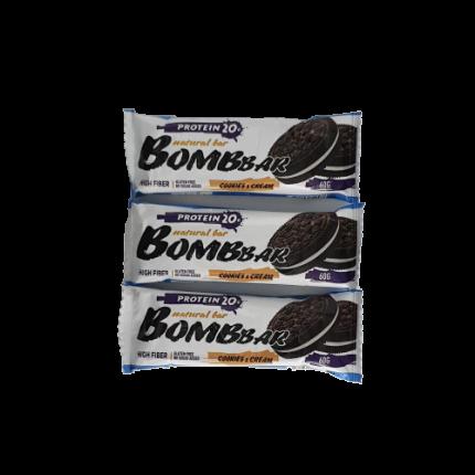 Батончик Bombbar Protein 3 60 г, 3 шт., печенье/крем