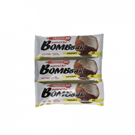 Батончик Bombbar Protein 3 60 г, 3 шт., кокос