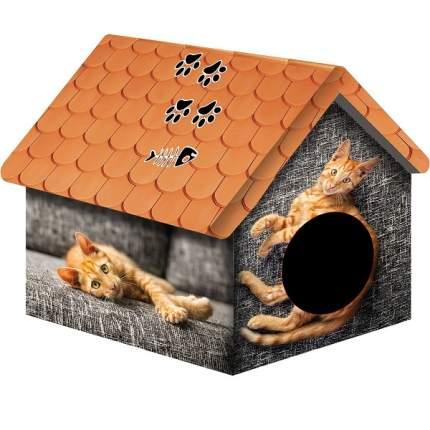 Домик для кошек и собак PerseiLine Дизайн Рыжий кот, разноцветный, 33x33x40см