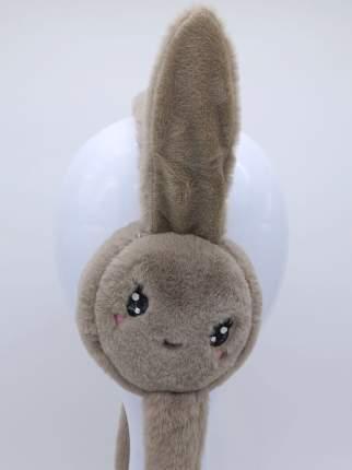 Наушники утепленные с подвижными ушками МихиМихи MM08755 Зайчик с глазками коричневые