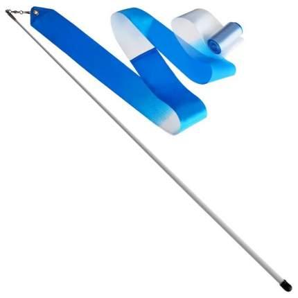 Гимнастическая лента Sima-land 4477794 с палочкой 56 см, 6 м, белая/голубая