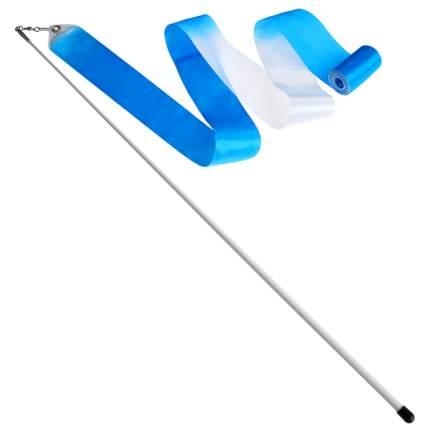 Гимнастическая лента Sima-land 4477792 с палочкой 56 см, 4 м, белая/голубая