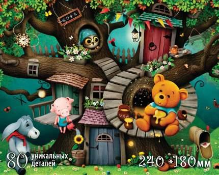 Фигурный деревянный пазл Нескучные Игры Страна сказок Винни Пух, 80 деталей