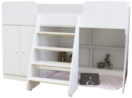 Детская кровать чердак Капризун со шкафом Р441-белый